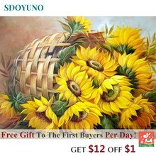SDOYUNO 60x75cm Frame DIY Painting By Numbers Kits Sunflowers Abstract Modern Home Wall Art Picture Flowers Paint By Numbers(China)