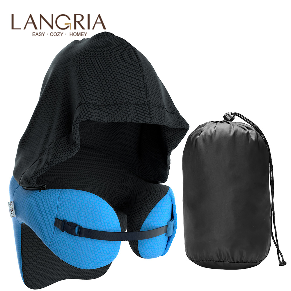 LANGRIA 6-in-1 Long Haul Astronaut Memory Foam Travel Pillow With Detachable Hood Adjustable Neck Size