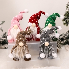 Handmade Christmas Gnome Decoration Swedish Figurines Sitting Long Hat Elf Doll Ornaments Thanks Giving Day Gifts