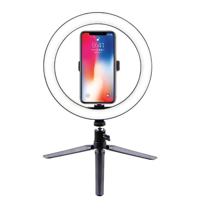 LED Ring Light With Tripod Stand For Makeup LED Camera Light With Cell Phone Holder Desktop LED Lamp With 3 Light Modes
