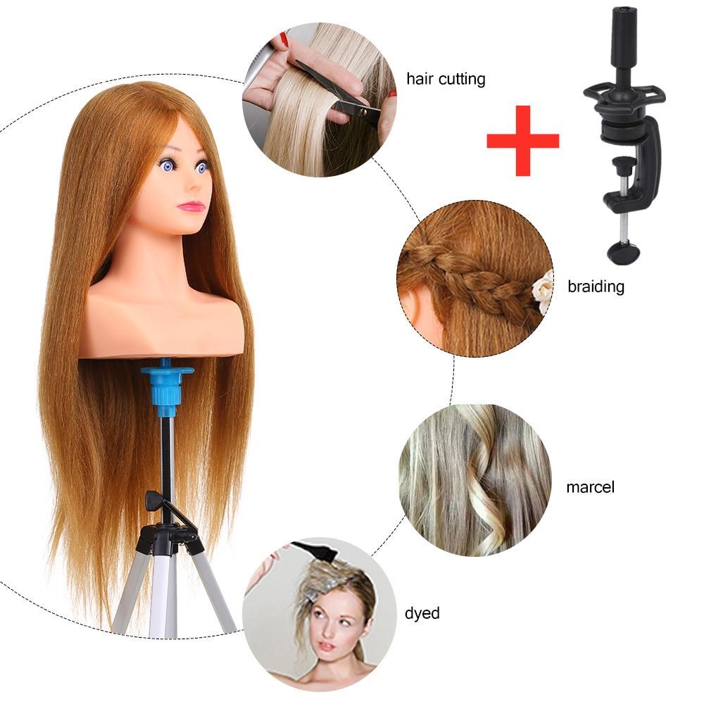 100% tête de Mannequin de cheveux humains pour coiffures tête Mannequin pour coiffeur barbier pratique professionnelle tête outils de coiffure