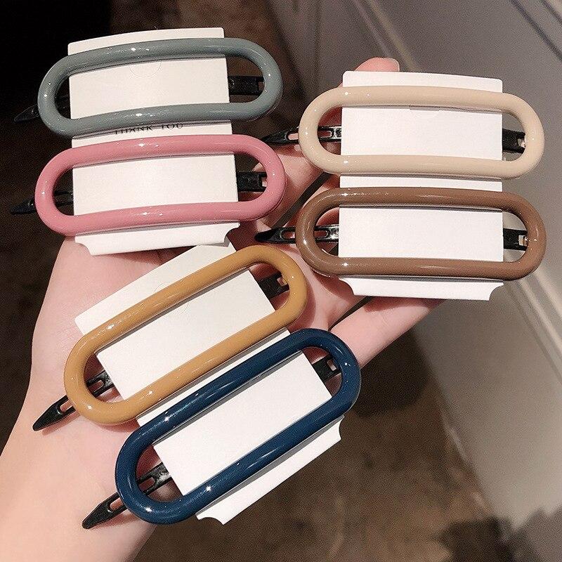 1PC Hot Style Hot Sale Lady Morandi Color Oval Top Clip Lady Simple Multi-color Edge Clip Bangs Clip Hair Clip