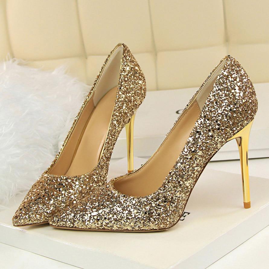 Fetish Shoes Stiletto Stripper Glitter Luxury Pumps Wedding Bridal High-Heels Gold Silver