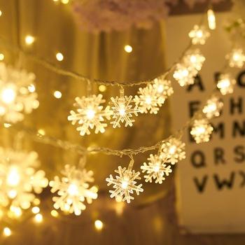 Łańcuchy świetlne LED płatki śniegu Garland Holiday zawieszka na choinkę ozdoby zewnętrzne ozdoby świąteczne dla domu Navidad 2020 ełk tanie i dobre opinie OURFETE CN (pochodzenie) J0414 Bez pudełka 10 LEDs or 20 LEDs 1 5m or 3m 3AA Battery(Not included Battery) Warm White Multicolor