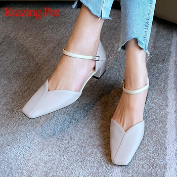 Krazing pot classic solid natural leather med thick heels square toe mature office buckle straps women shoes summer sandals L21