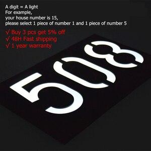 Image 5 - numero de maison exterieur maison plaque de porte lumière solaire numérique LED numéro de porte adresse chiffres numéro de montage mural pour la maison avec batterie