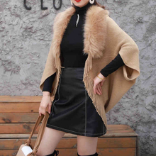2019Women Cardigan Sweater Thick Poncho Capes Femme Autumn Winter Bat Sleeve Fur Collar Wool Knitted Wome Long