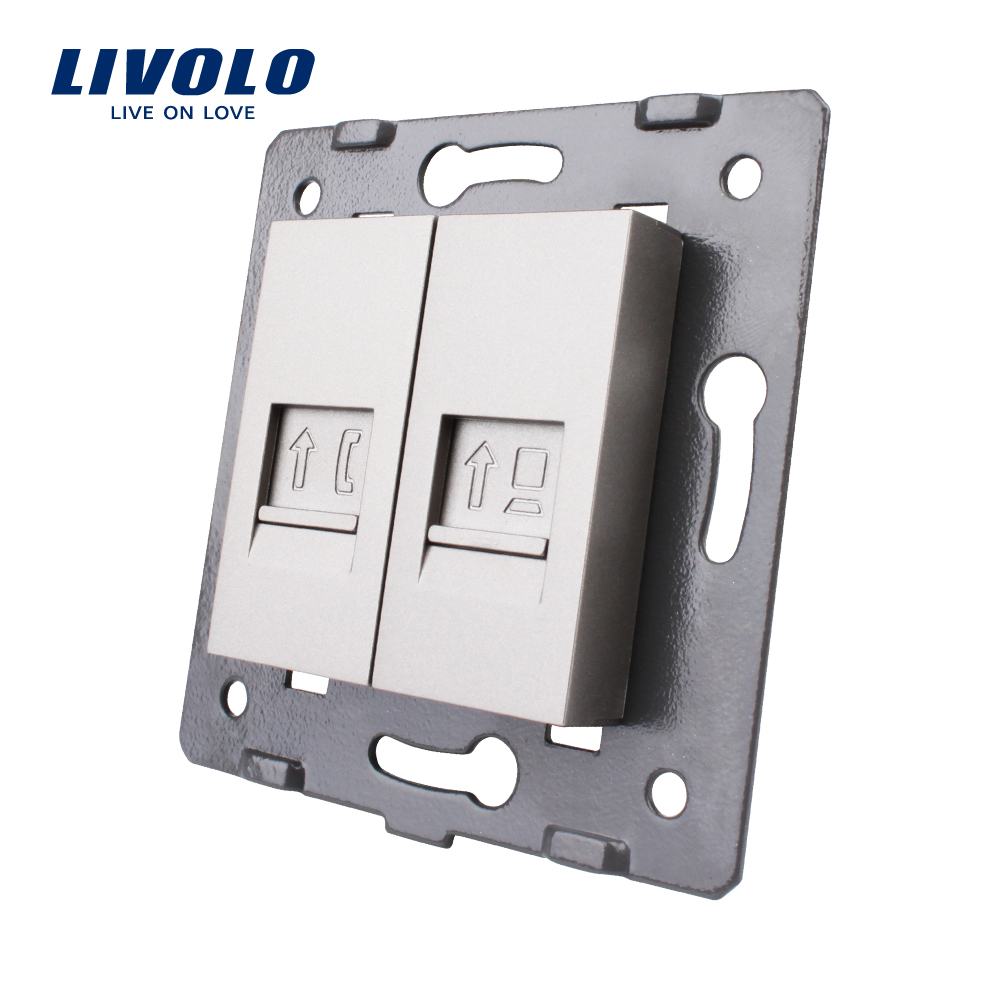 Manufacture Livolo,Wall Socket Accessory, The Base Of Telephone,Computer Socket,TV ,sound,video,microphone Outlet ,grey Color