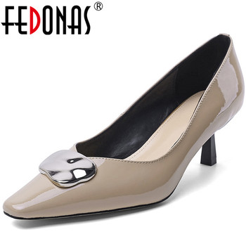 FEDONAS Top Quality Women Basic Pumps Cow Patent Leather Spring Autumn Metal Decoration Shoes Woman  Brand Design Shoes Woman