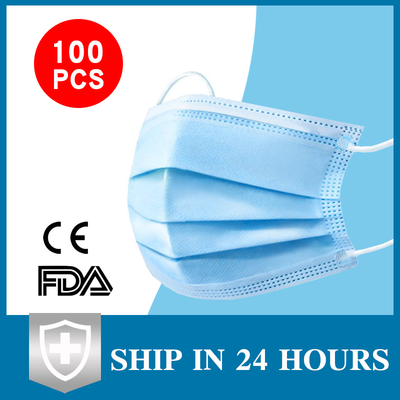 50pcs Anti-Pollution 3 Laye Mask Dust Protection Masks Disposable Face Masks Elastic Ear Loop Disposable Dust Filter Safety Mask