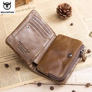 Image 2 - BULLCAPTAIN สั้น Tri พับซิปกระเป๋าสตางค์หนังวัวผู้ชายกระเป๋าสตางค์หนังเหรียญเหรียญเงินกระเป๋าธุรกิจ RFID ผู้ถือ