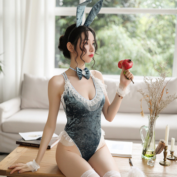Sexy bunny bodysuit gold velvet high quality send rabbit ears headband bracelet sexy attractive temptation jumpsuit natural quality goods color ice stone bracelet send certificates send jewelry box