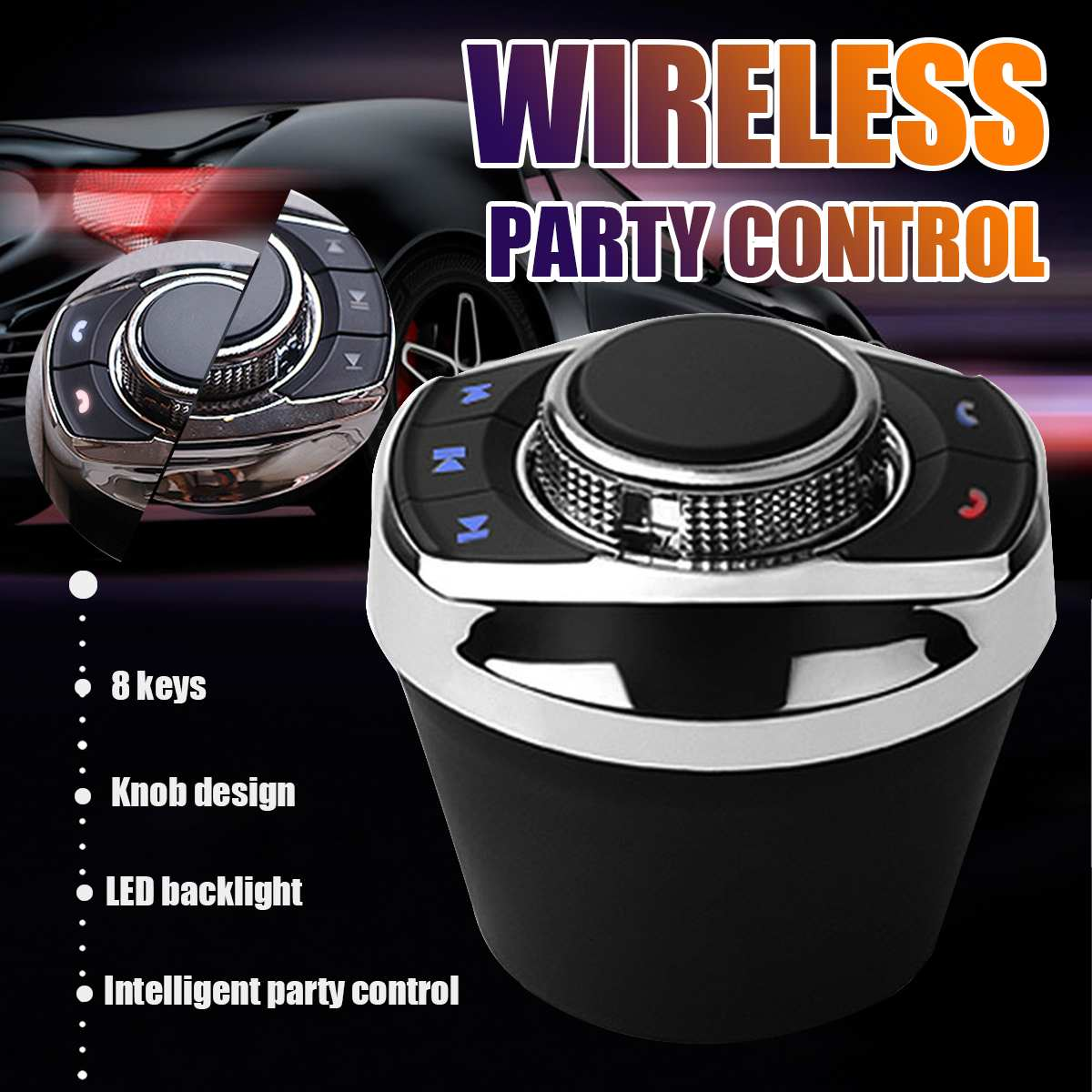 8-Key Functions Car Wireless Steering Wheel Control Button Cup Shape With LED Light For Car Android Navigation Player Universal