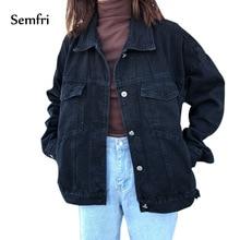 Semfri Womens Black Denim Jacket Autumn Winter Coat Jeans Casual Harajuku Streetwear Women Korean Clothes 2019
