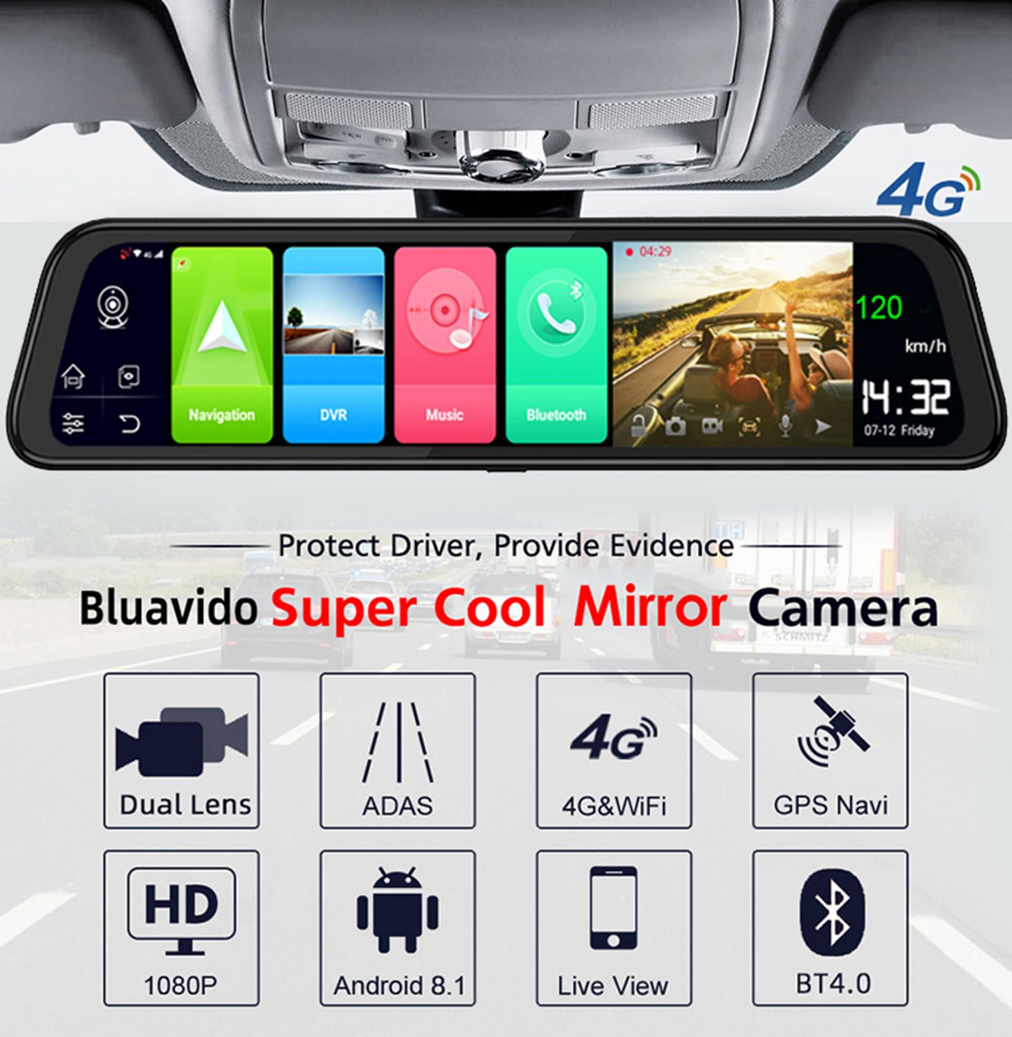 "Image 2 - Bluavido 12"" Rearview mirror 4G Android 8.1 dash camera 2G RAM 32G ROM GPS Navigation car video recorder ADAS WiFi night vision-in DVR/Dash Camera from Automobiles & Motorcycles"