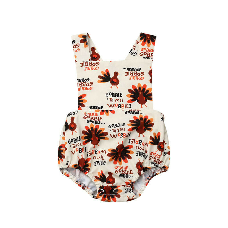 2019 New Thanksgiving Day Baby Bodysuit Infant Baby Boys Girls Turkey Clothes Cotton Jumpsuit Newborn Baby Body Festival Outfits