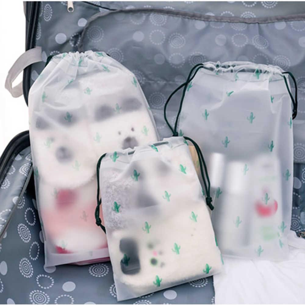 Bolsa de viaje esmerilada transparente para mujer Calcetines de ropa interior impermeables bolsa de almacenamiento organizador bolsa de cosméticos bolsa de maquillaje