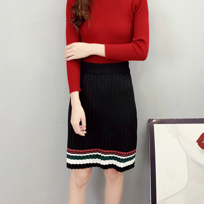 Bodycon Knit Skirt Winter HighStreet Color Block High Waist Side Knee Length Pencil Skirts Women Patchwork Knitwear korean style
