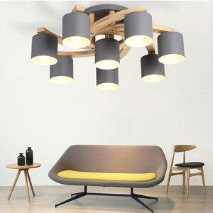 Image 5 - Madeira nórdica E27 Lâmpada Do Teto Simples Arte de Ferro Luz de Teto Quarto Sala lustre de Jantar Cozinha & Bar luzes de teto avize