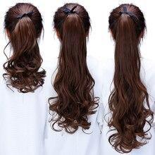 Длинные накладные волосы, синтетические накладные волосы на заколках, длинные волнистые волосы, устойчивый хвост, накладные прически