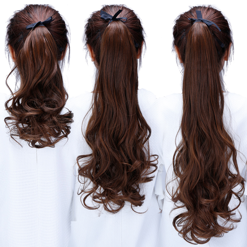 Long Wrap On Hair Synthetic Clip In  Extensions Synthetic Hair Tail Long Wavy Heat Resistant Ponytail Hairpieces Fake Hairstyles