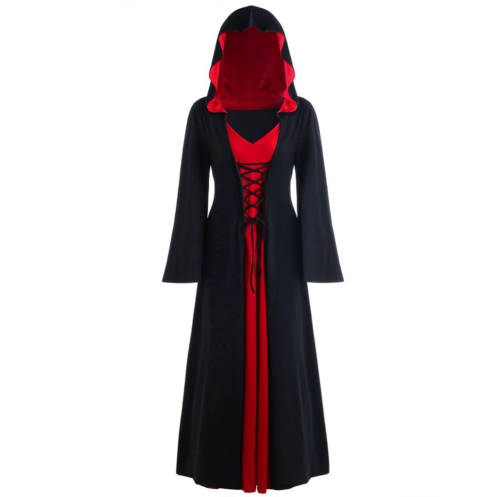 Halloween Costume Witch Medieval Dress Women Adult Plus Size Sexy Scary Wicca Cosplay Gothic Wizard Costumes for