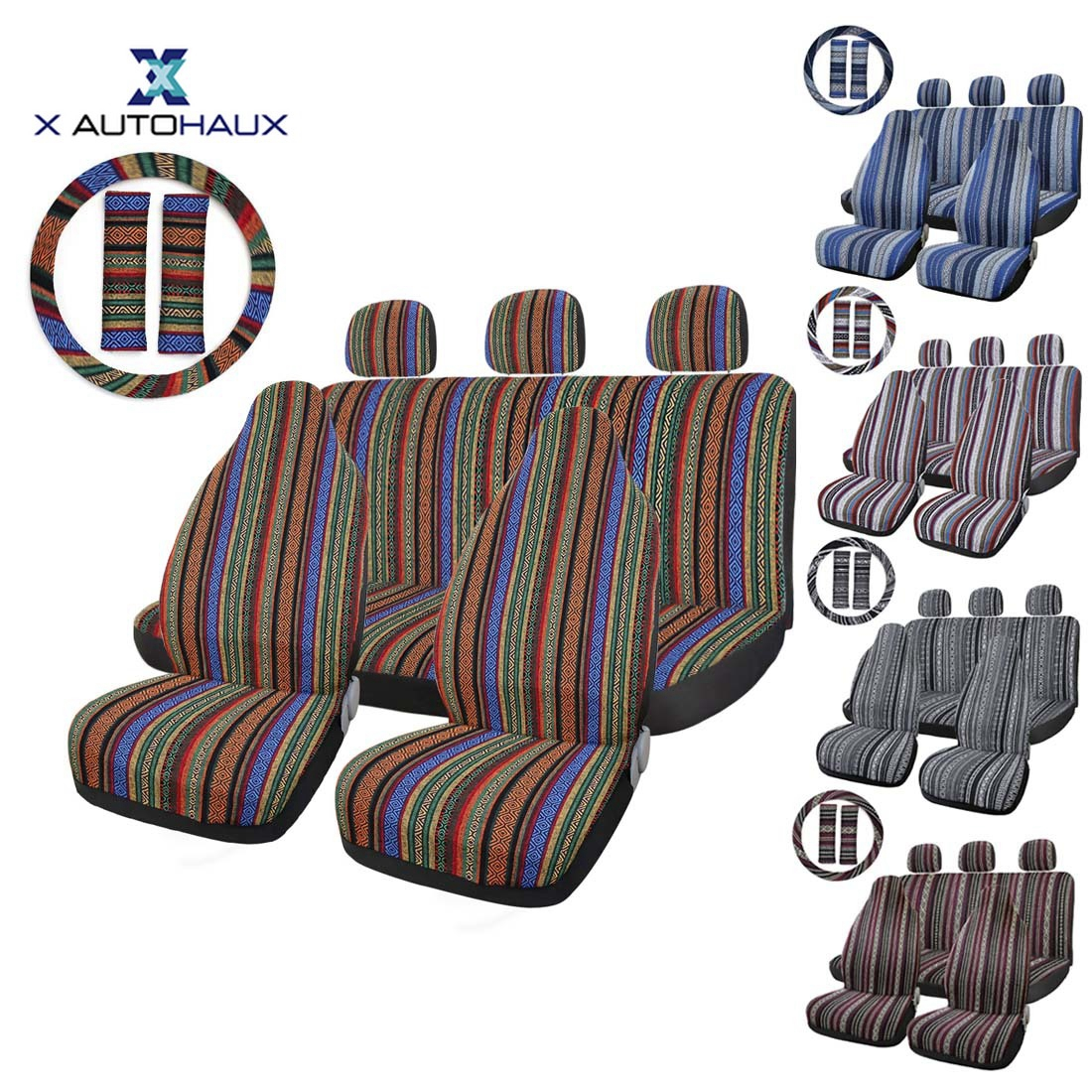 uxcell 10pcs Multi-color Blanket Durable Bucket Seat Cover Protector for Car
