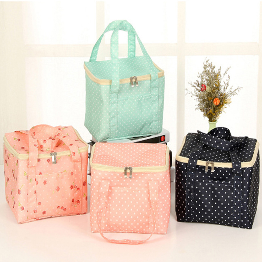Lunch Bags Pouch Portable Storage Bag Oxford Cloth Stripe Picnic Case Insulated Thermal Wave Point Lunch Pakage For Women Kids