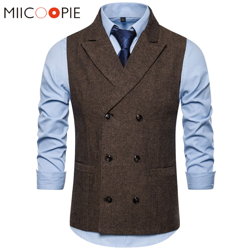 Mens Double Breasted Brown Suit Vest 2019 Brand Casual Solid Color Business Sleeveless Waistcoat Gentlemen Chalecos Para Hombre
