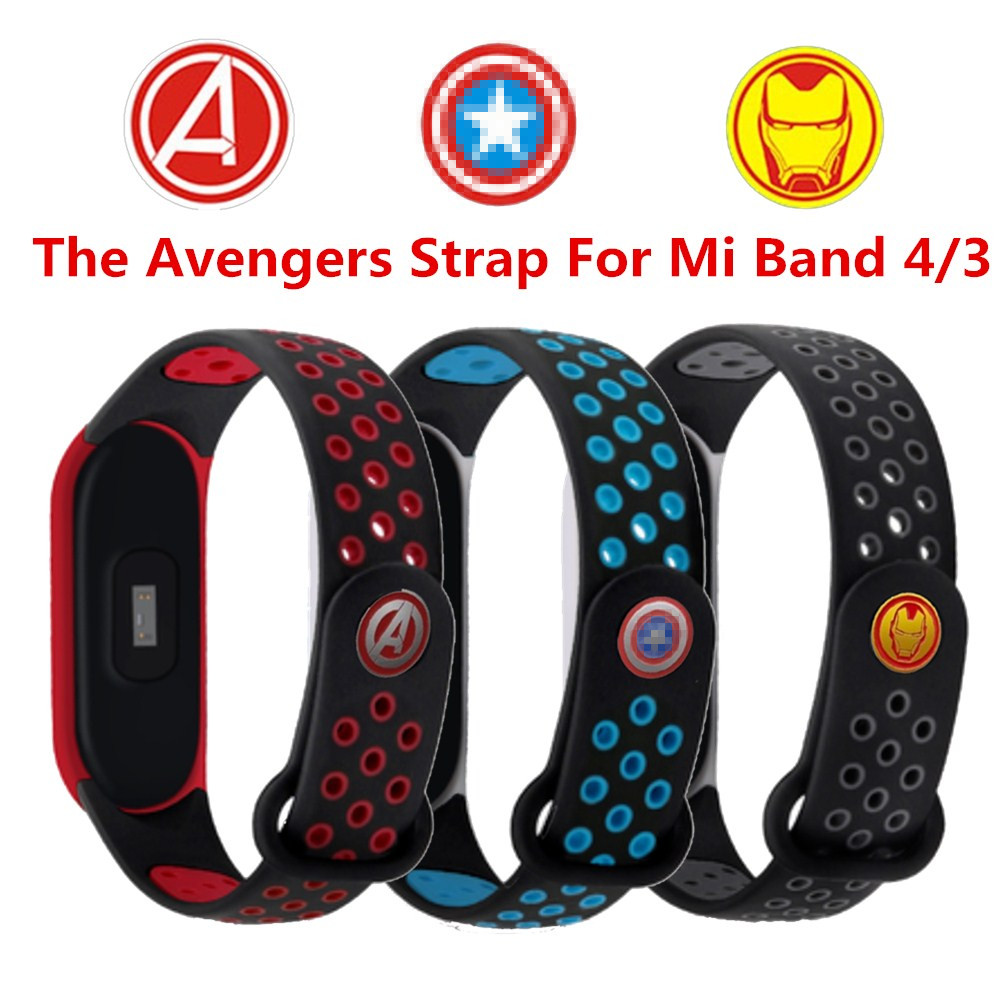 For Xiaomi Mi Band 4 Strap The Avengers Wristband For Mi Band 3 Bracelet For Xiaomi Band 4 Nfc Replacement Strap For Mi Band 4 3