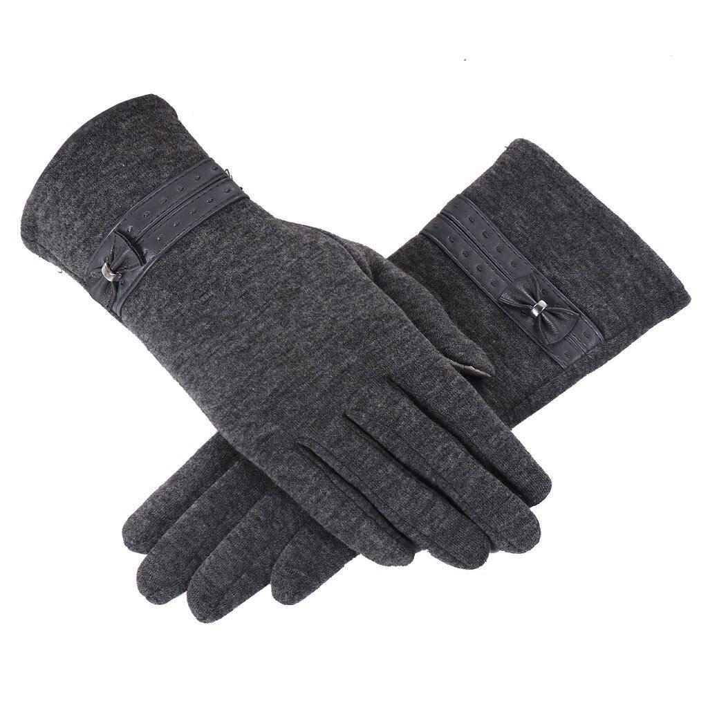 Buckle Bow Tactical Winter Gloves For Men Women Ladies Winter Warm Bowknot Mittens For Women Thicken Mittens Gloves Luvas