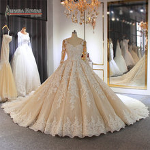 wedding dress 2020 Luxury Champagne Wedding Dress With Long Train Dubai
