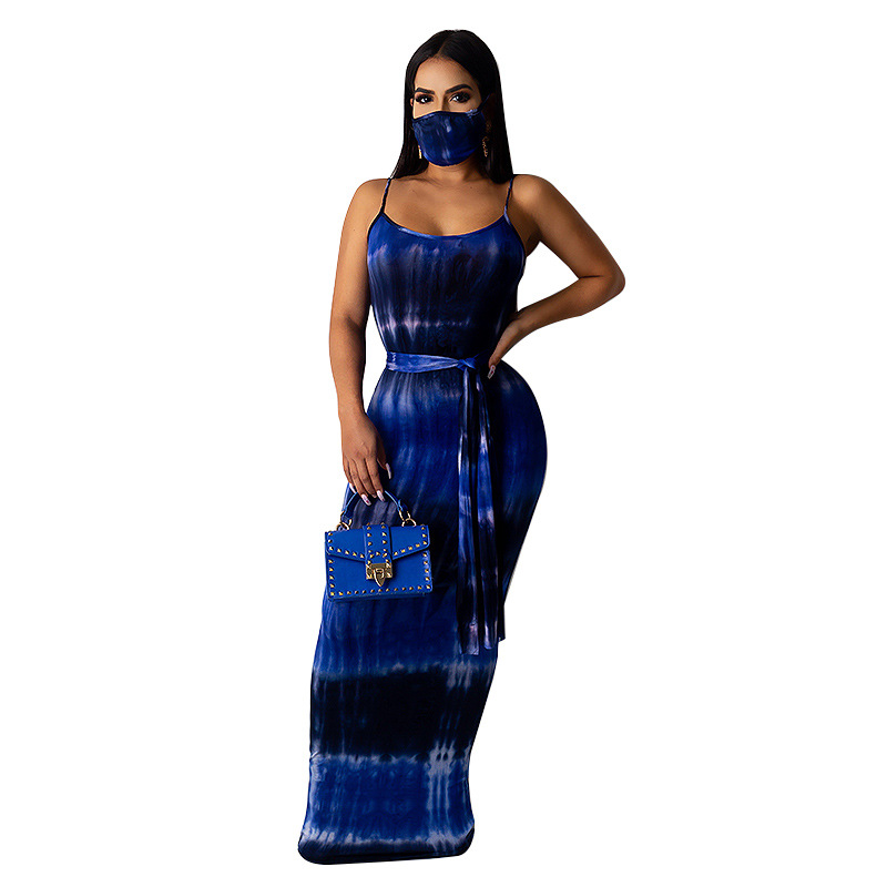 Cutubly Women Spaghetti Strap Backless Long Maxi Dress Tie Dye Print Sexy Long Dresses for Women With Mask Sashes Summer Dresses(China)