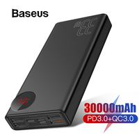 Baseus 30000mAh Power Bank Quick Charge 3.0 Portable External Battery Charger Powerbank with QC3.0+PD3.0 Fast Phone Charger