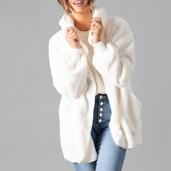 Autumn Winter Faux Fur Hooded Coat Women Warm Teddy Bear Fur Fashion Jacket Female Teddy Outwear Plush Overcoat Long Coat