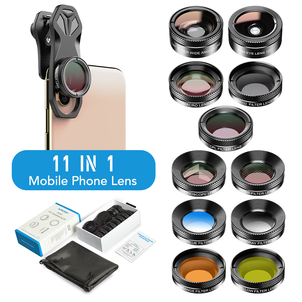 APEXEL 11 in 1 camera Phone Lens Kit wide angle macro Full Color/grad Filter CPL ND Star Filter for iPhone Xiaomi all Smartphone