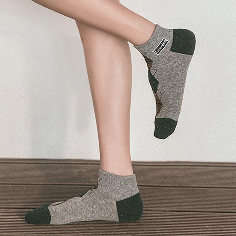 Men/Women/Couples Short Socks Spring Fashion Classic Diamond Lattice Geometry Printed Couples Boat Socks Harajuku Vintage Socks