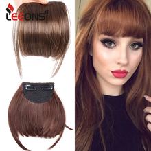 Leeons krótkie syntetyczne grzywki żaroodporne treski włosy kobiety naturalne krótkie fałszywe przypinana grzywka spinki do włosów dla rozszerzeń czarny tanie tanio CN (pochodzenie) Wysokiej Temperatury Włókna Clip-in Pure color Blunt bangs