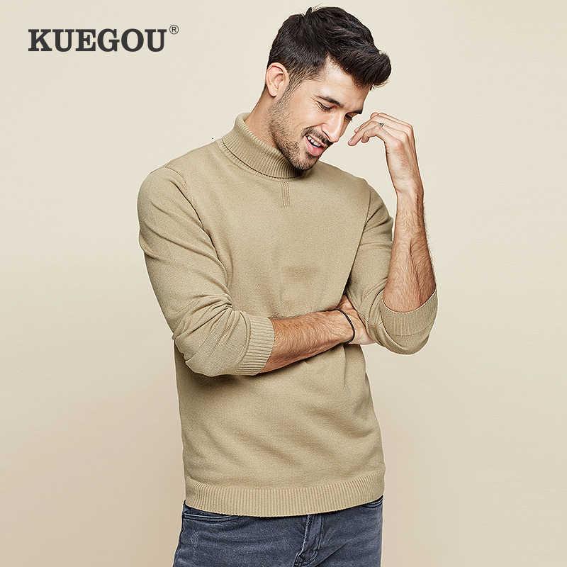 KUEGOU 2019 가을 솔리드 블랙 터틀넥 스웨터 남성 풀오버 캐주얼 점퍼 남성 브랜드 니트 한국 스타일 의류 8923