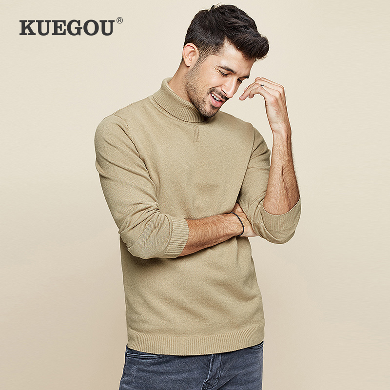 KUEGOU 2019 Autumn Solid Black Turtleneck Sweater Men Pullover Casual Jumper For Male Brand Knitted Korean Style Clothes 8923