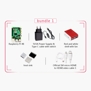 Image 4 - Original Raspberry Pi 4 Model B 2G Kit Pi 4 board Micro HDMI Cable Power Supply With Switch Case With Fan Heat Sinks