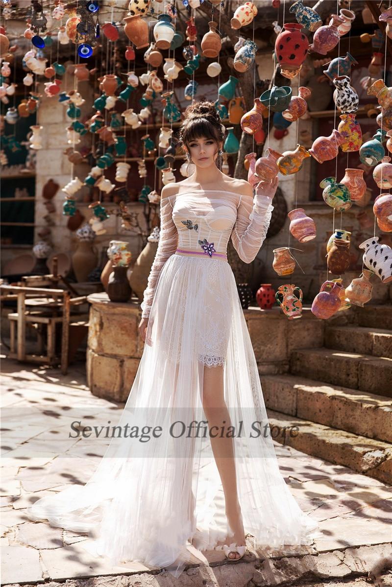 Sevintage Off the Shoulder Boho Wedding Dresses Lace Long Sleeves Bridal Gowns Slit Side Wedding Gowns Robe De Mariee 2020