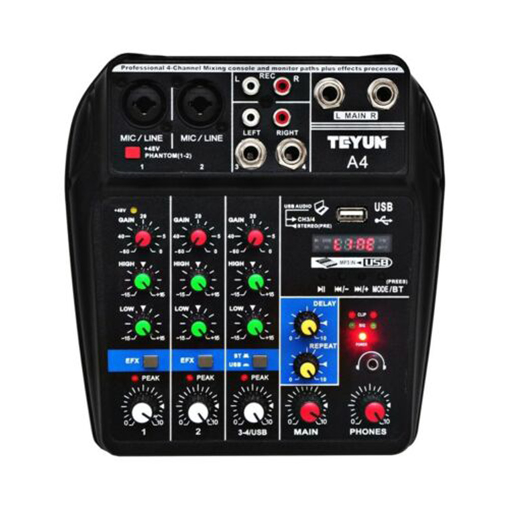 4 kanäle Audio Mixer Sound Mischpult Bluetooth Rekord Bühne Treffen Live Broadcast Suppplies EU/Us-stecker