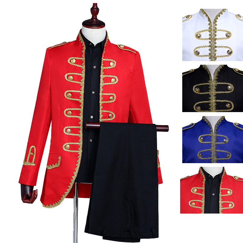 Palace Stage Costumes Gold Buttons Decoration Black Red White Royal Blue  With Shirt Black Suit Pants