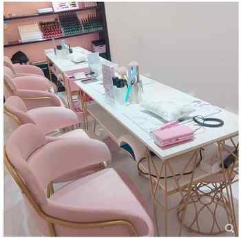 Nordic double deck manicure table and chair set combination single double marble gold manicure table simple and modern