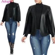 Adogirl S-2XL Black PU Leather Cape Fashion Fake Two Piece Set Women Jacket Coat Office Lady Business Coat Blazer Outwear