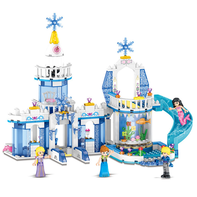 344pcs Snow Princess Elsa Ice Castle Princess Anna 2 In 1 Compatible Legoinglys Technic Building Blocks Toy Kit DIY Gifts