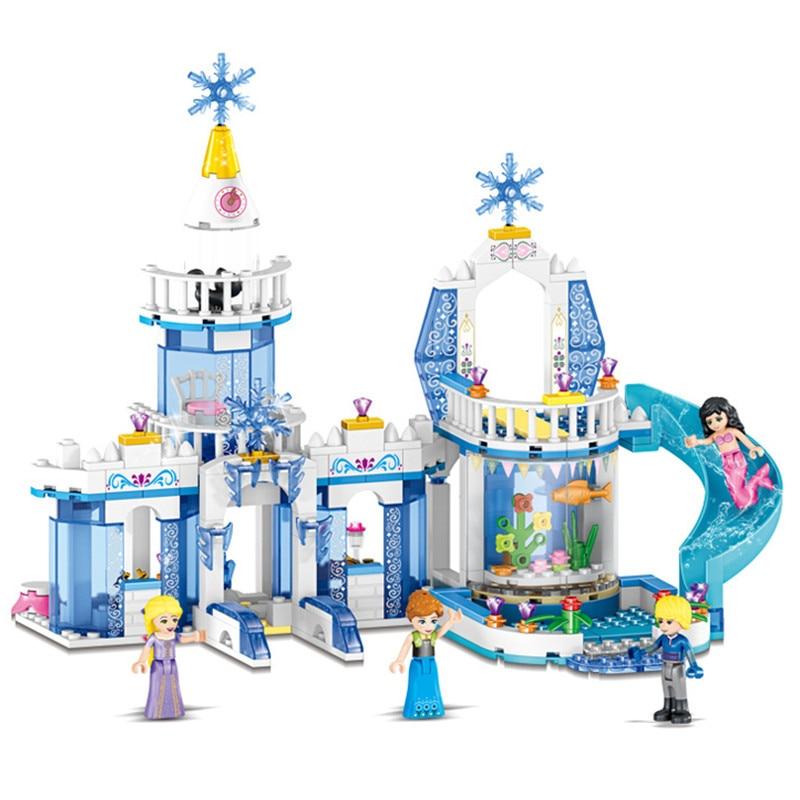 344pcs Snow Princess Elsa Ice Castle Princess Anna 2 In 1 Compatible Legoinglys Technic Building Blocks Toy Kit DIY Gifts