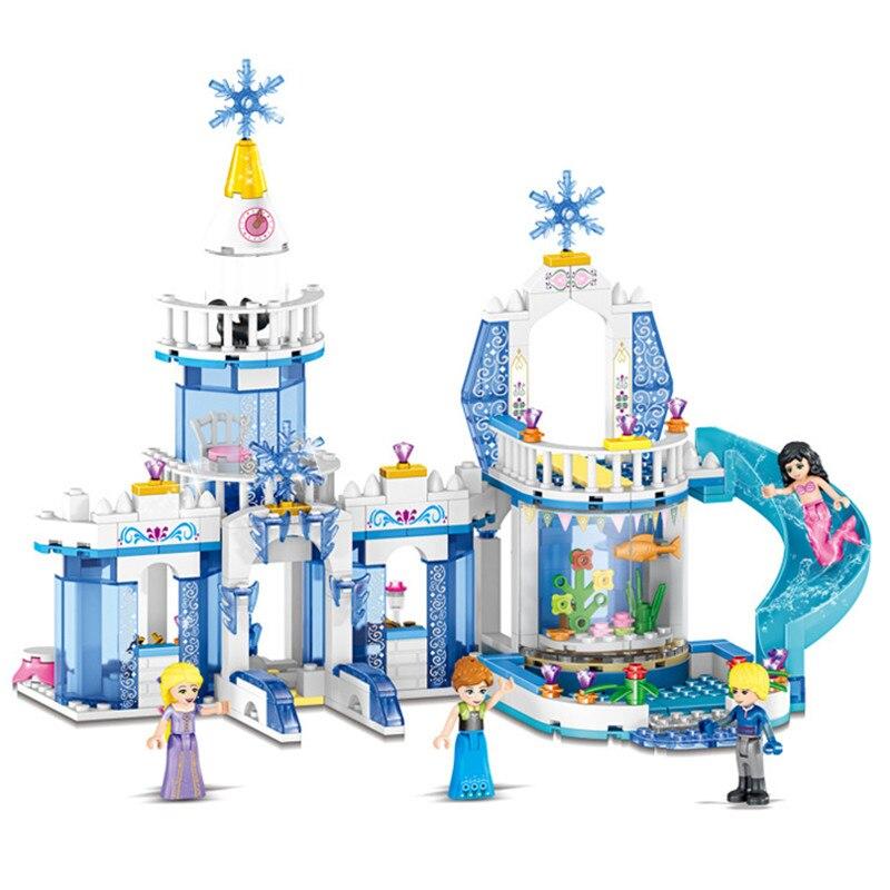 344pcs Snow Princess Elsa Ice Castle Princess Anna 2 In 1 Compatible Lepining Technic Building Blocks Toy Kit DIY Gifts