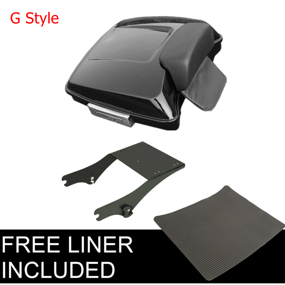 "Image 5 - Motorcycle 5.5"" Razor Pack Trunk Backrest Rack For Harley Tour Pak Touring Electra Glide Road King Street Glide 2014 2019"